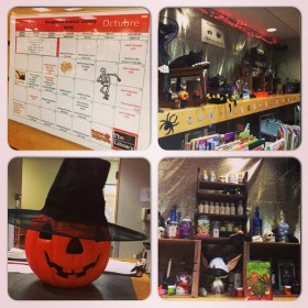 Our events calendar and some of our displays for Halloween 2014. I have the responsibility to create our events calendar and to help with displays, which gives me more motivation and happiness when I come into work.