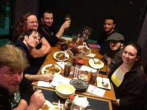Us at the birthday dinner. I'm on the right in the yellow next to my husband.