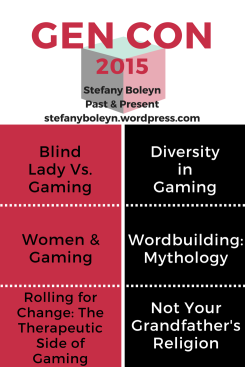 Gen Con 2015 Graphic. Stefany Boleyn. Past & Present. StefanyBoleyn.wordpress.com. Blind Lady Vs. Gaming. Women & Gaming. Rolling for Change: The Therapeutic Side of Gaming. Diversity in Gaming. Worldbuilding: Mythology. Not Your Grandfather's Religion.