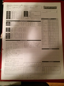Pathfinder Character Sheet Example
