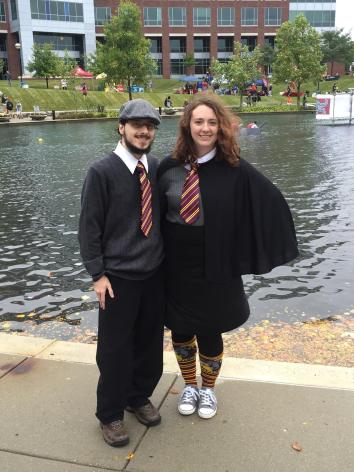 My husband Daniel and I at the IUPUI Regatta dressed as Harry Potter characters.